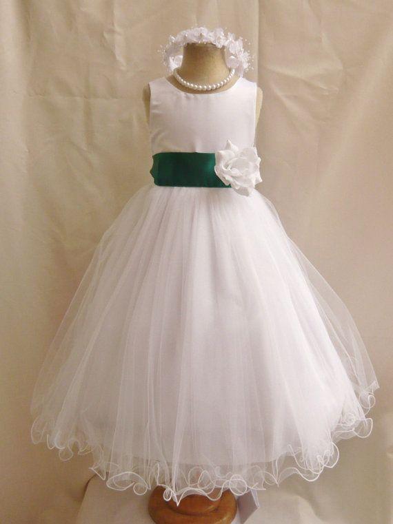 Flower girl dresses ivory with green hunter fd0fl for White green wedding dress