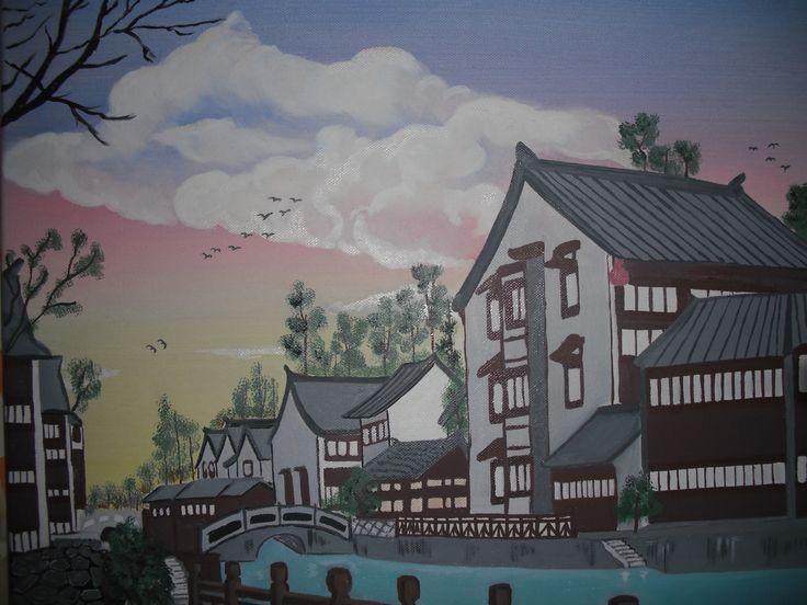 ζωγραφική σε καμβά κινέζικο τοπίο