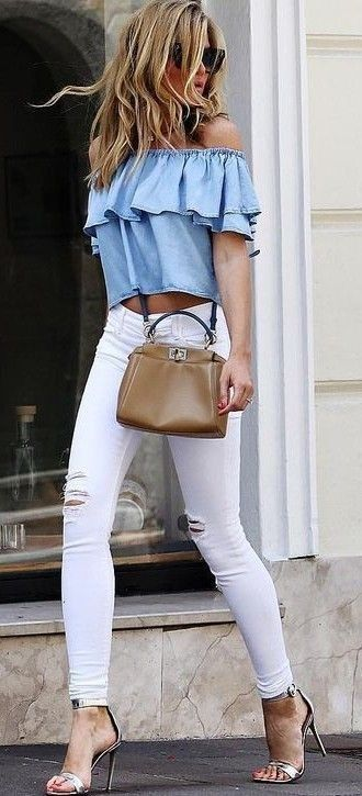 off shoulders denim ruffle top. white jeans. high sandals.