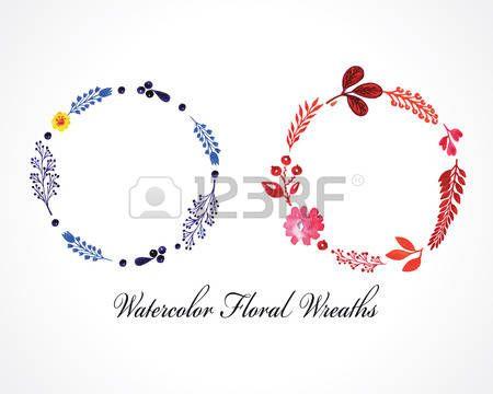 акварельные цветочные венки photo