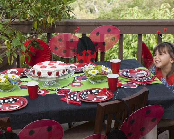 Ladybug Picnic Birthday - a Party in a Box! All you need - themed decor and tableware, ladybug party wing favors, & party games! Buy now @ revelbee.com