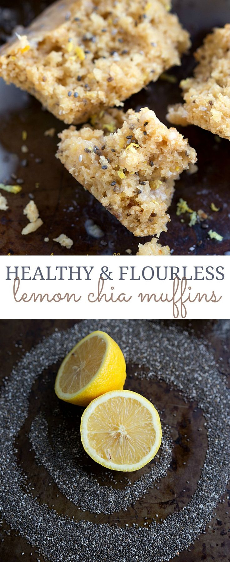 Gluten-free and healthy lemon chia seed muffins. The chia seeds could also be replaced with poppyseeds for a delicious traditional lemon poppyseed muffin. These muffins are free of refined white fl…