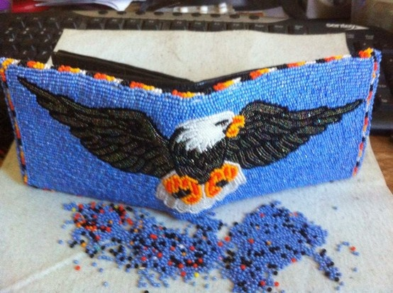 Beaded Eagle Wallet Done by Emily Charpentier