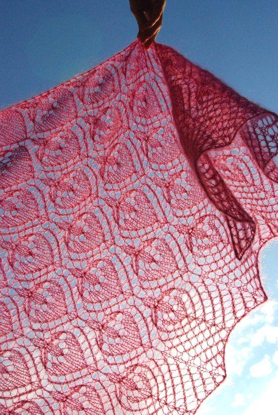 Fuchsia Knit Shawl Magenta Hand Knit Lace Shawl by aboutCRAFTS