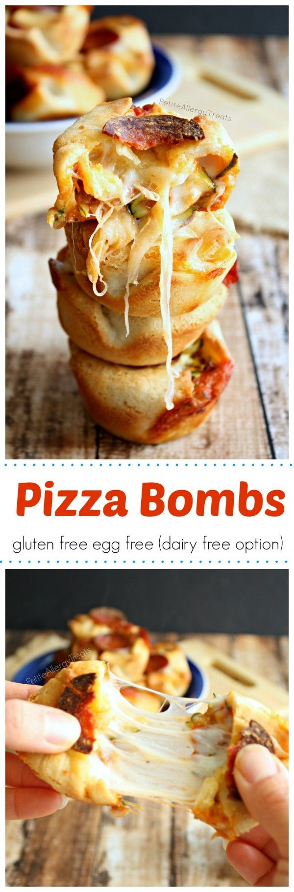Pizza Bomb Bites (gluten free egg free, dairy free option)- Pizza pockets filled with gooey cheese and vegetables