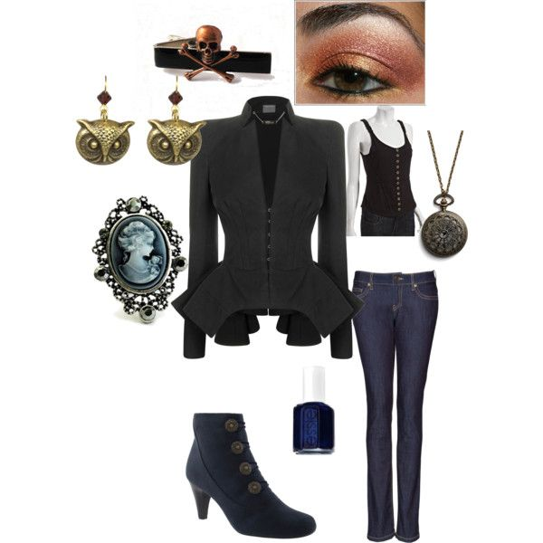 Modern Steampunk. That Alexander McQueen jacket is just beyond reason. The necklace is really Lyra's alethiometer!