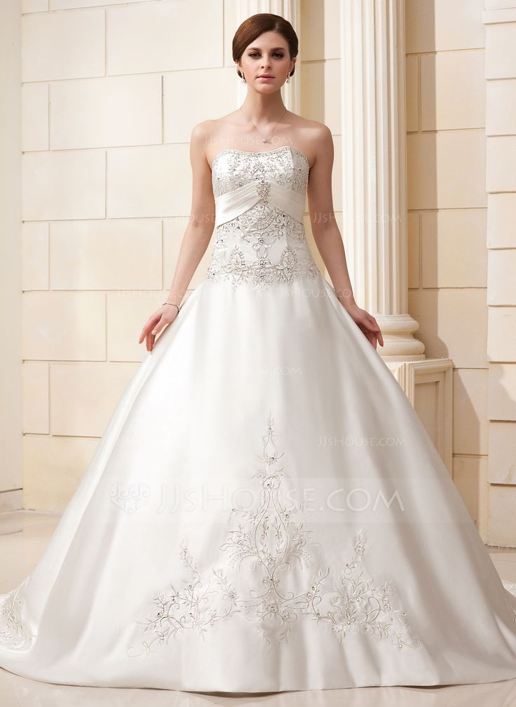 Ball-Gown Sweetheart Cathedral Train Satin Wedding Dress With Embroidered Beading (002011582) - JJsHouse
