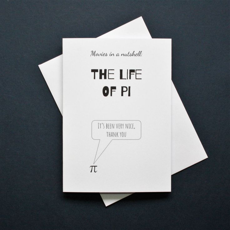 Life of Pi card, funny Life of Pi film card, Life of Pi movie card, pi card, movies in a nutshell by Designerpoems on Etsy