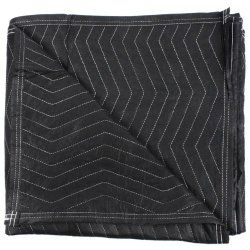 """Uboxes performance Moving Blankets. Black non-woven poly fabric and poly binding. 3 inch non-woven binding on all 4 sides with 4 finished corners. Thick cotton batting for more padding. Zig-zag stitch pattern. Durable and tough. 72"""" x 80"""" 54 lbs Per Dozen Set of 6 #moving #moving blankets $67.38"""