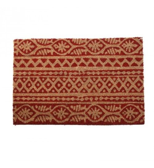 DOORMAT W_PVC BACK AND SYNTHETIC GRASS RED_BEIGE 40X60