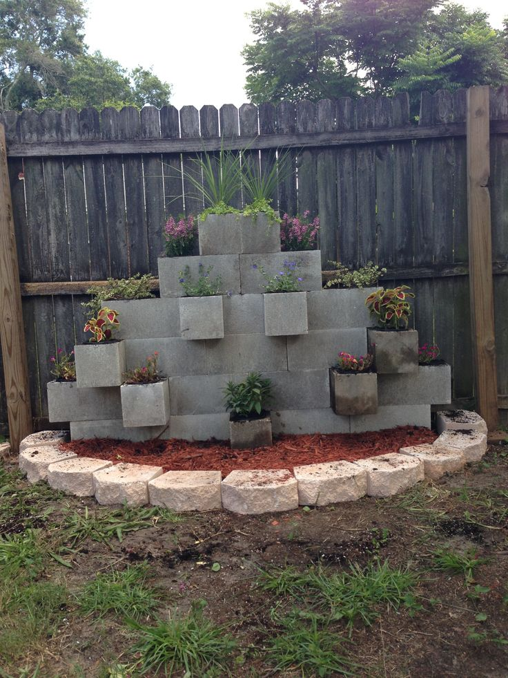 75 best cinder block images on pinterest cinder blocks for Concrete block landscaping ideas