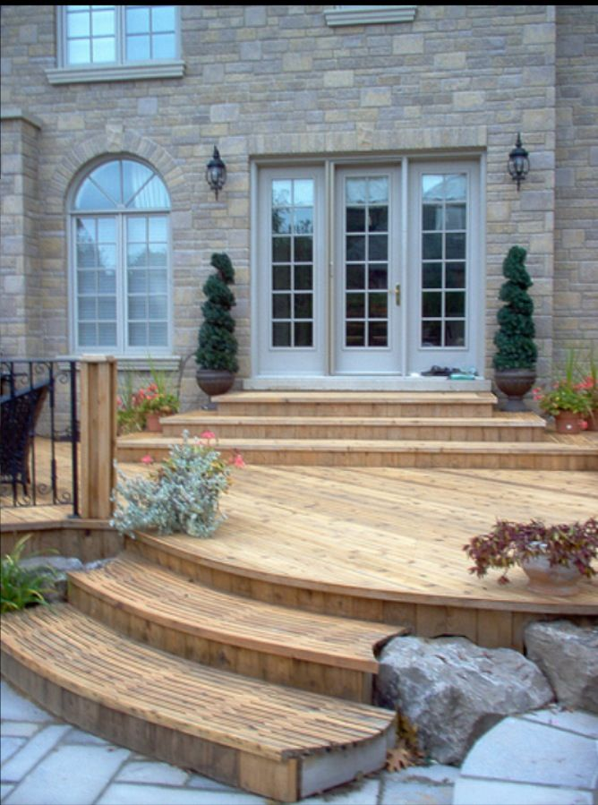 Outside deck idea curved stairs outside living ah a for Outdoor patio doors