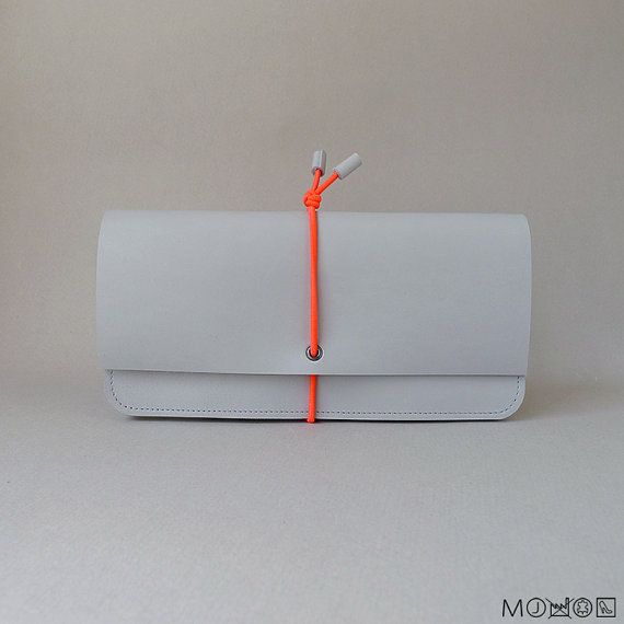 Wallet elastic strap  Large  concrete leather & by MariekeJacobs