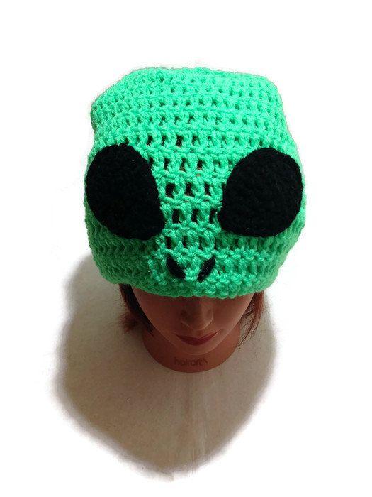 Green Alien Slouchy Hat Alien Novelty Beanie by AddSomeStitches