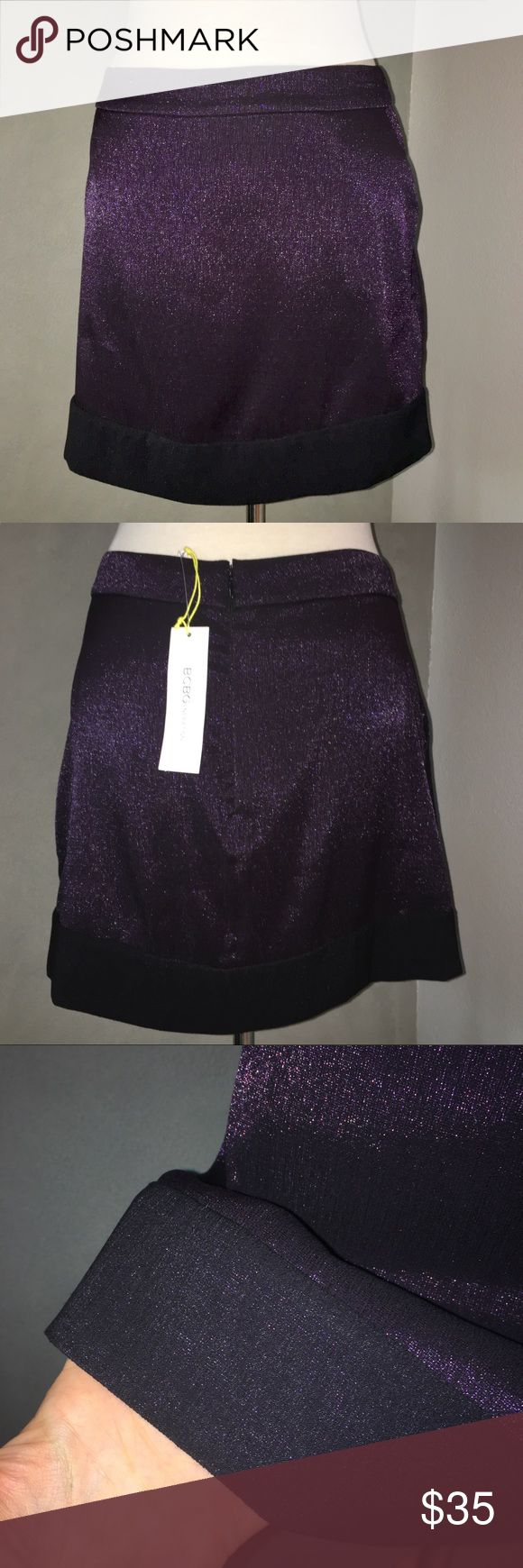 BCBGeneration Sparkly Purple A-Line Skirt This sparkly dark purple A-line skirt is brand BCBGeneration & is a size 10. Two side pockets. The length is 17 inches. Not previously worn & no flaws or defects. BCBGeneration Skirts A-Line or Full