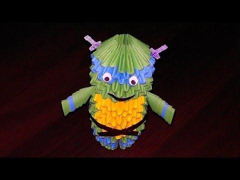 3D origami Ninja turtle Leonardo assembly diagram (tutorial, instructions) - YouTube