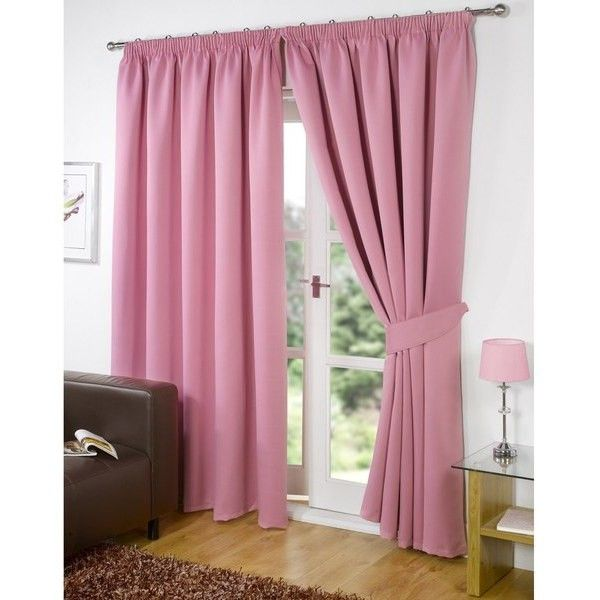 Dreamscene Blackout Pencil Pleat Curtains ($74) ❤ liked on Polyvore featuring home, home decor, window treatments, curtains, pink, pink curtains, pink home decor, pink window treatments and polyester curtains