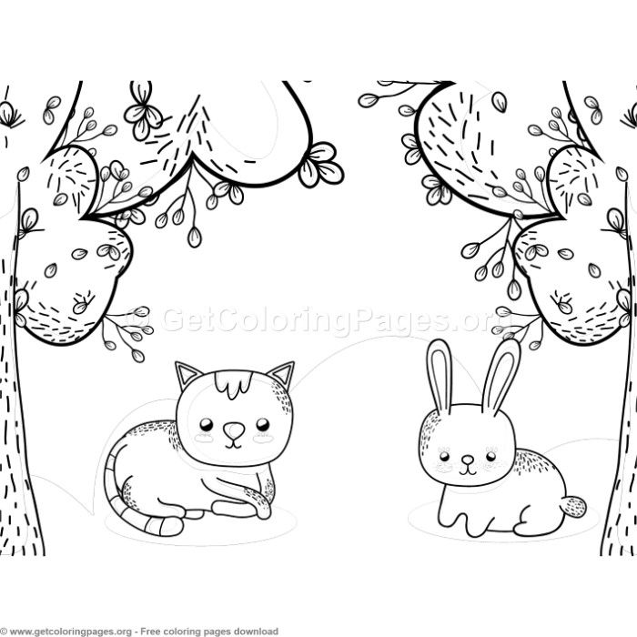 Cat And Bunny In The Park Coloring Pages Free Instant Download Coloring Coloringbook Coloringpages Animal Coloring Pages Free Coloring Pages Coloring Pages