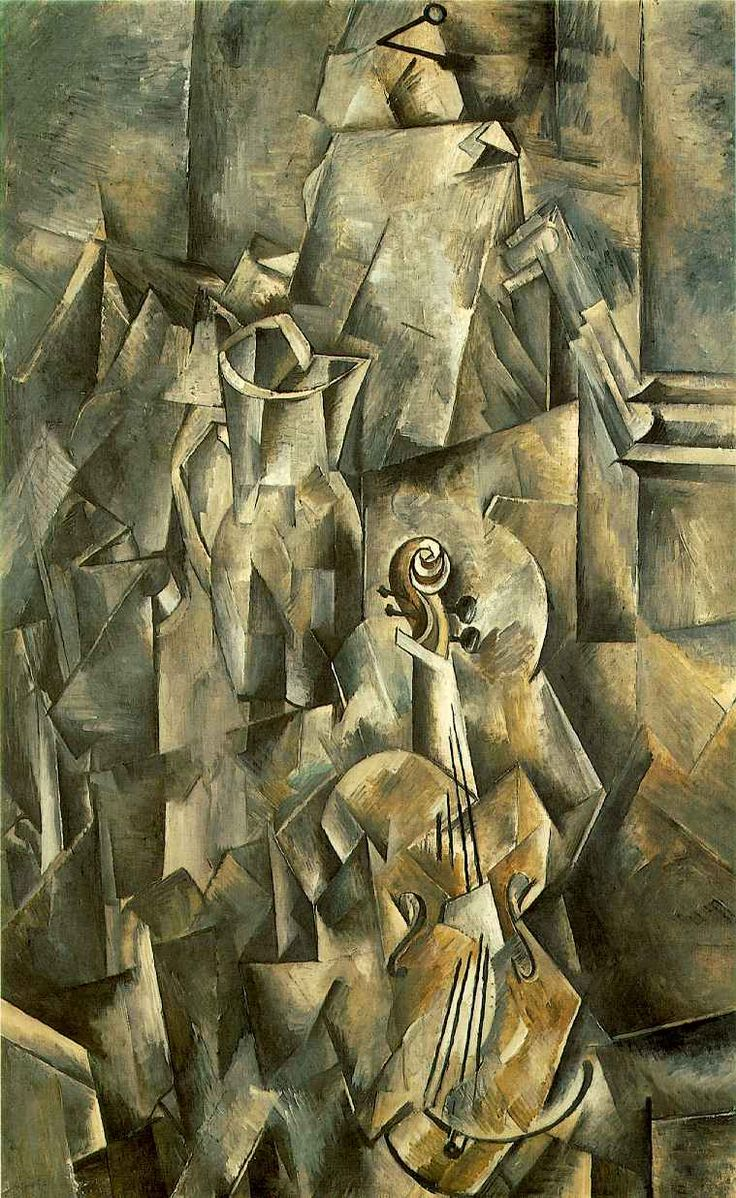 Violin and Pitcher (1910)  The move towards [a] more complex kind of painting reaches a climax in the still lifes that Braque painted late in 1909 and early the follwing year, for example 'Violin and Pitcher'. These paintings give the sensation that Braque has felt his way visually around each object and examined its relationships with the other objects around it from several viewpoints.