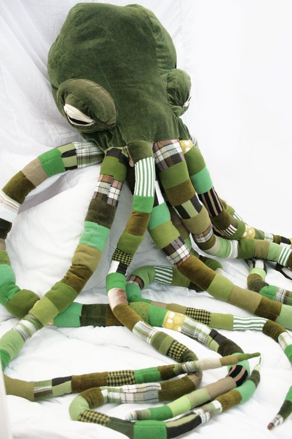 Gigantic Cthuhlu, Green steampunk monster, Home decor pouf Steam punk interior Gigantic stuffed plush with huge muzzle(made-to-order)