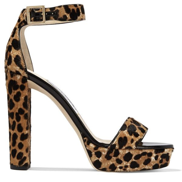 Jimmy Choo Holly leopard-print calf hair platform sandals ($525) ❤ liked on Polyvore featuring shoes, sandals, leopard print, platform sandals, leopard print shoes, leopard print sandals, high heel platform sandals and leopard shoes