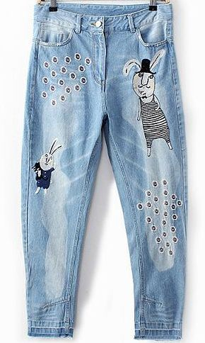 Blue Bleached Embroidered Rabbit Denim Pant - Sheinside.com
