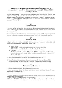 Všeobecne záväzné nariadenie mesta Banská Štiavnica č. 2/2016 o