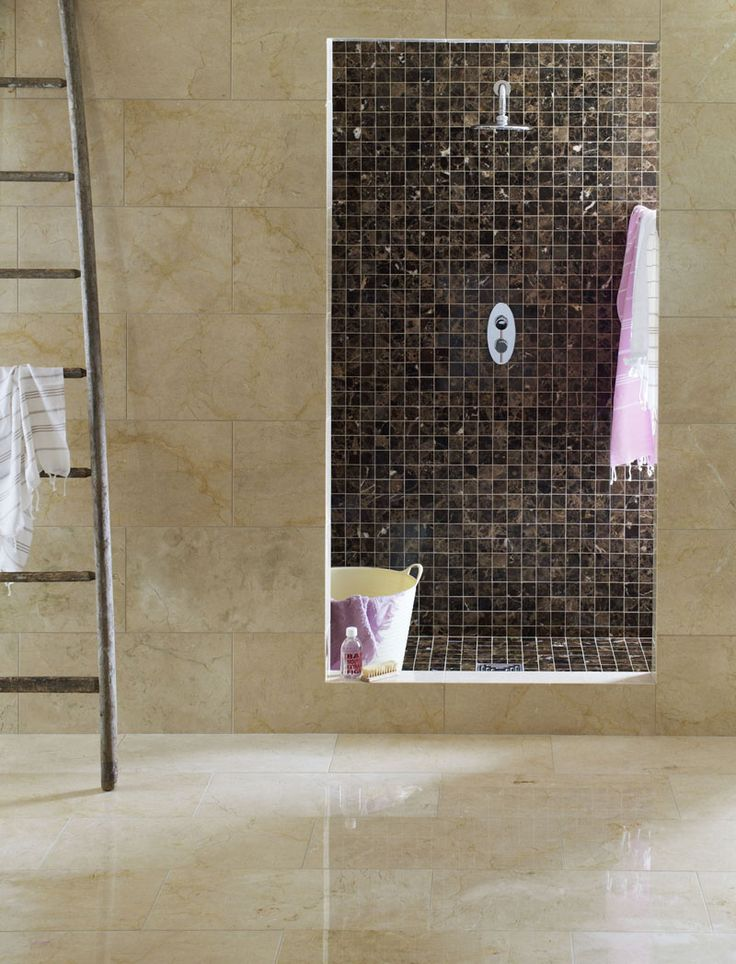 Shower looks like secret room with different tile and clean wall