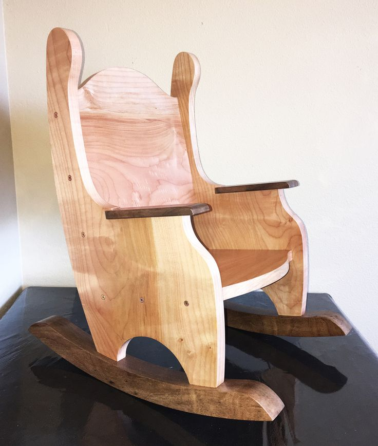 Solid Pacific Maple and Black Walnut Children's Rocking Chair - My Chaos by Design