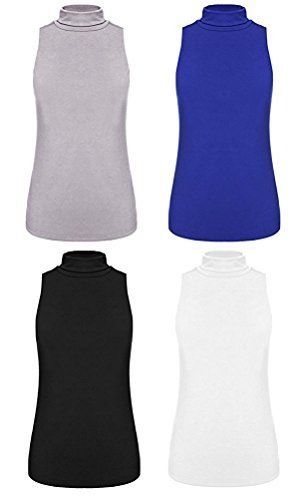 True Meaning Fashion-hoodies True Meaning Warm and thin Women's Sleeveless Turtleneck Shaping Tank Top Mock Turtleneck Shirt Tops