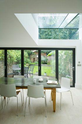 Glass bifolding doors + roof