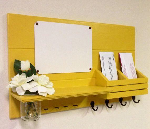 Shabby Chic Nautical Beach Cottage Dry Erase Board Entryway Vase Flower Key ring Coat Hat Rack Hanger Mail holder Organizer Luscious Lemon