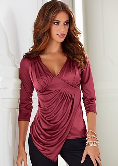 Draped Top $32  A touch of gloss adds the right amount of interest to luxe pleating and a delicate drape.