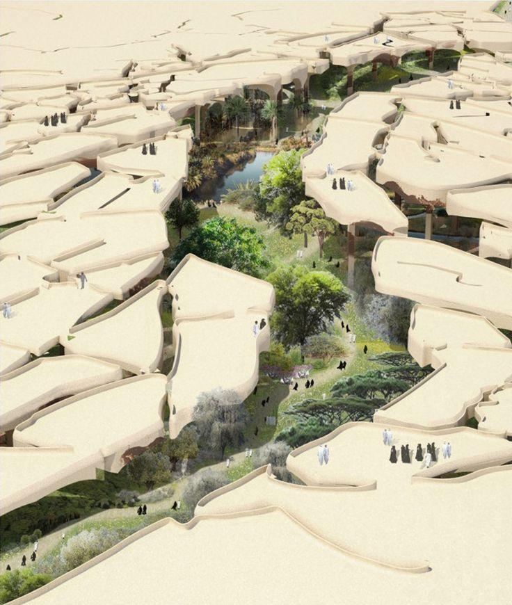 thomas heatherwick greens the desert with al fayah park in abu dhabi, UAE