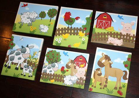 Conjunto de animales de granja 6 8 x 10 estira lienzos niños dormitorio bebé vivero lienzo Wall Art
