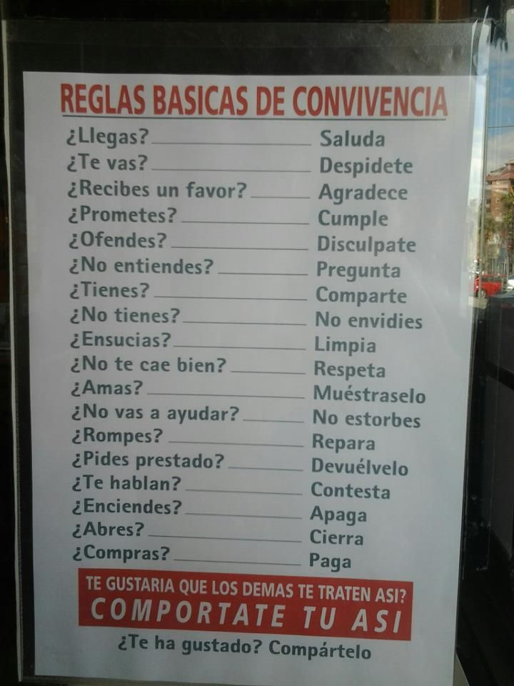 Reglas Básicas - Mandatos informales afirmativos y negativos.