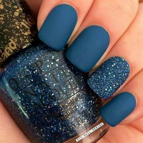 Matte nails dark teal