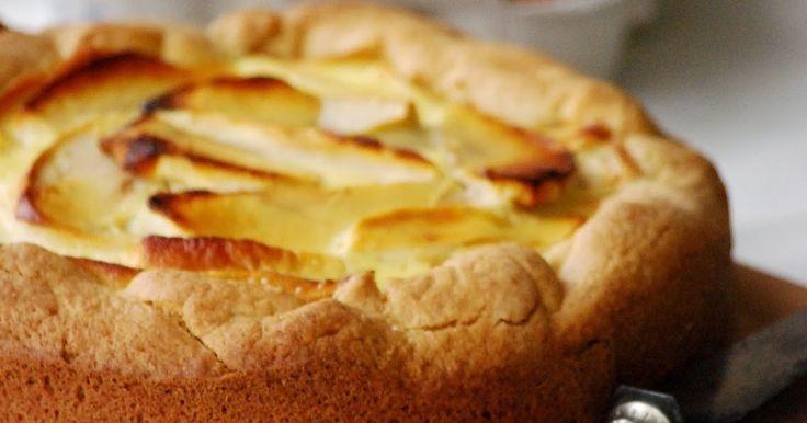 Tarta manzana, tarta manzana cremosa. Miele.