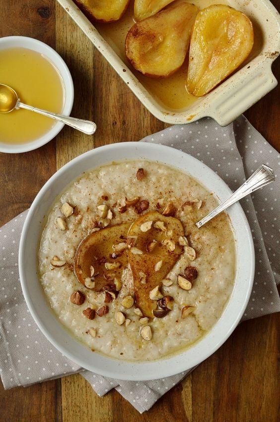 Vanilla amond milk porridge with honey roast pear, cinnamon and hazelnuts. Dairy free and easily adaptable to be vegan.
