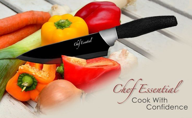 Cooking Knife Set Chef Essential 6 Piece with Matching Red Sheaths #ChefEssential
