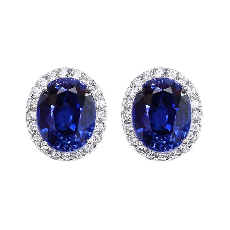 Natural 2CT Oval Cut Royal Blue Sapphire Halo Stud Earrings