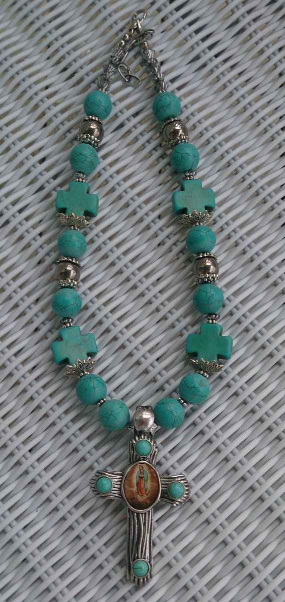 Turquoise Cross Necklace Mother Mary One Of by SecretStashBoutique, $42.00