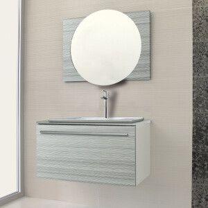 ensemble salle de bain viena gris meuble 90 cm lavabo miroir - Ensemble Salle De Bain Gris