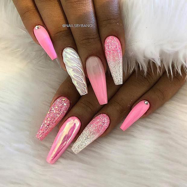 Pink Unicorn Nail Design Prettynails Unicorn Nails Designs Unicorn Nails Coffin Nails Designs