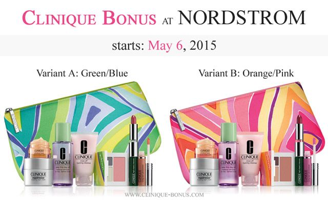 Clinique Bonus at NORDSTROM is here. With 32 USD purchase choose ...