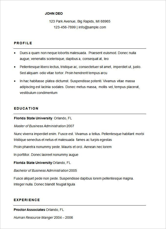 Free Traditional Elegance Resume Template Basic Resume Basic