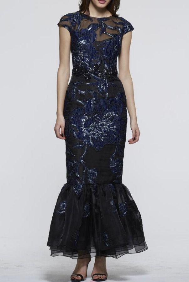 David Meister Navy Blue Cap Sleeve Evening Gown   Poshare   black ...