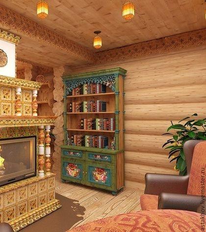 """шкаф книжный из бука """"Русский стиль"""" - шкаф,шкаф из бука,Мебель,шкаф с росписью"""