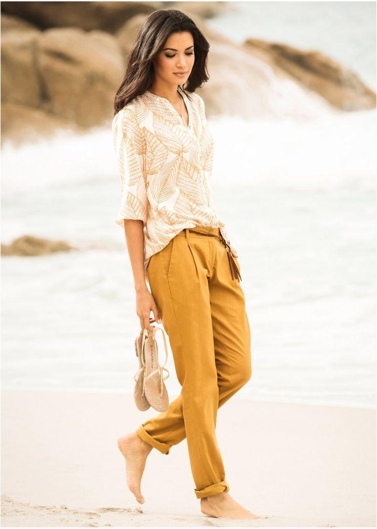 Spodnie z domieszką lnu i wiązanym paskiem • 124.99 zł • bonprix