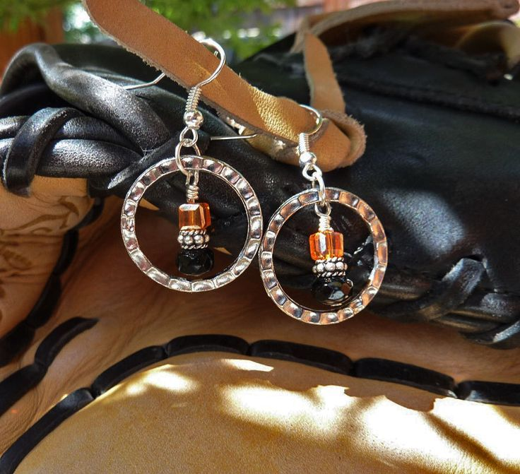 San Francisco Giants Earrings Black and Orange Baseball Earrings Crystal Beads Silver Hoop Earrings Sports Earrings World Series MLB Giants by JewelrybyJacobe on Etsy